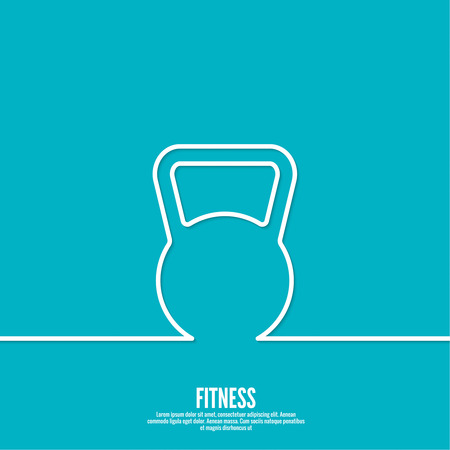 muscle training: Kettlebell sport and muscle training. flat design. outline. minimal.