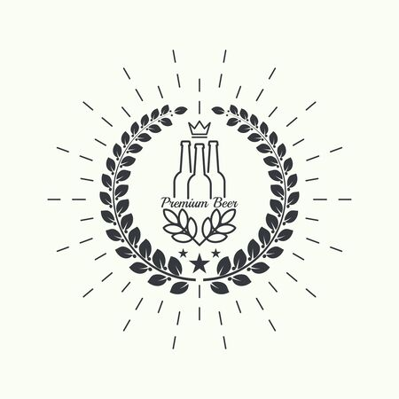 beer bottle: Beer brewery emblems, label, design element. For pub menu, bar, restaurants, signage. minimal. Outline