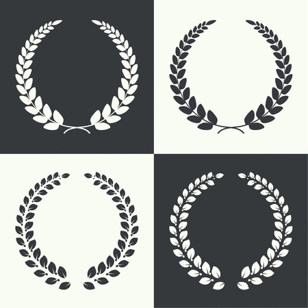 triumphant: Set of vector circular laurel wreath. Insignia awards,  prizes and excellence.
