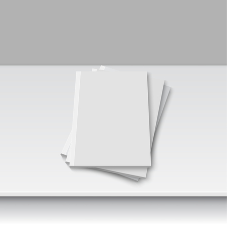 cover up: Blank empty magazine or book template lying on a gray background. vector