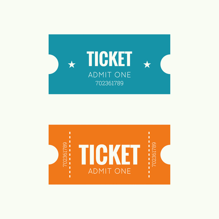 cinema ticket: Entry ticket to old vintage style. Admit one theater, cinema, zoo, swimming pool, fair, rides, swing, amusement park, carousel. icon for online booking of tickets. Web and mobile app Illustration