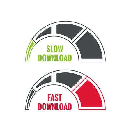 Wektor zestaw wskaźników szybkości ładowania w Internecie. Powolne i szybkie pobieranie skalę. Ilustracje wektorowe