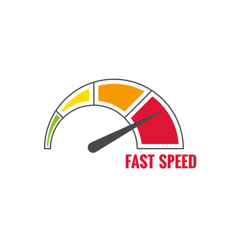 The measuring device with a color scale. Green, yellow, orange, red. Speedometer. The concept of maximum acceleration and speed. Stock Illustratie