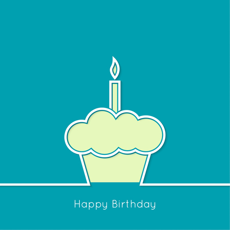 buttercream: Abstract background with birthday cupcake and  lighted candle. Outline. minimal.