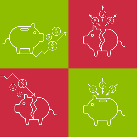 financial assets: Set of illustrations with a piggy bank. Symbols profit and commercial success. Bankruptcy and loss of financial assets. Good investment and saving money. Illustration