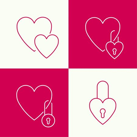 inlove: Heart with a lock. The concept of love forever. minimal. Outline. icon