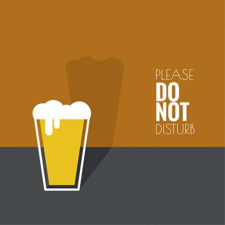bebida: Fundo abstrato com vidro de cerveja com o líquido amarelo e espuma. Logo para restarana, menu de pub, café, sinalização. mínimo. design plano
