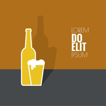 Abstracte achtergrond met bier glas, fles met gele vloeistof en schuim. Logo voor restarana, pub menu, cafe, bewegwijzering. minimaal. plat ontwerp