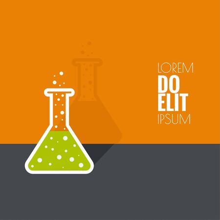 science scientific: The concept of chemical science research lab retorts, beakers, flasks and other equipment. Biological and scientific tests. discovery new technologies. minimal.  flat shadow Illustration