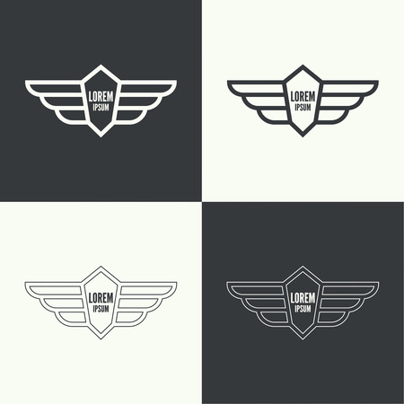 apparel: Badge and shield with wings. Symbol of military and civil aviation. Outline  emblems Illustration