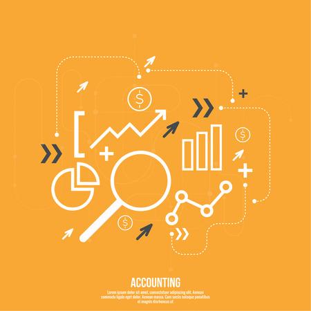 Analyse en Financieel Beleid & Forecast. indicatoren aandelenmarkt en statistische gegevens. Vector Illustratie