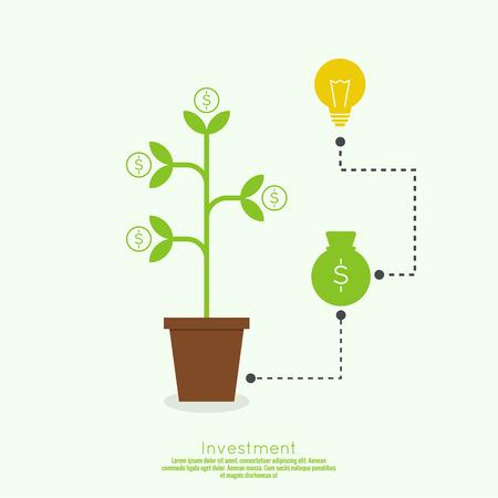 ビジネス プロジェクトのコンセプトです。現金投資理念と利益