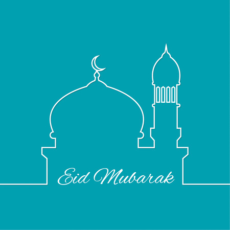 Arab mosque. outline. minimal. Eid Mubarak. vector Vettoriali