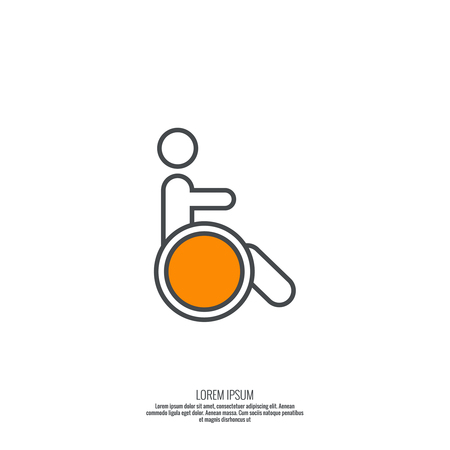pictogram people: Symbol man on the wheelchair. Limited capacity, parking, toilet for the disabled. minimal. Icon, pictogram