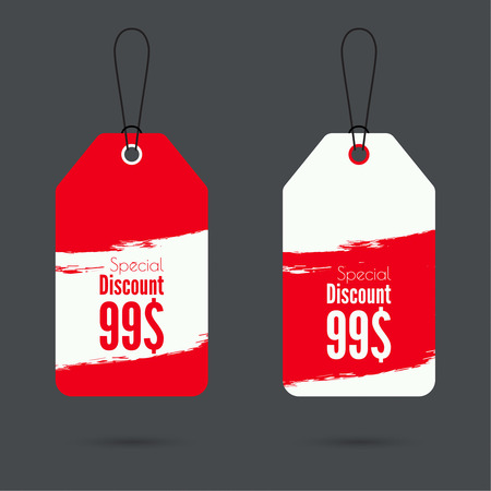 discount tag: Set price tag with ribbons and labels. Special discount. red
