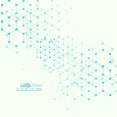 biotecnologia: Fondo abstracto Virtual con partículas, estructura de la molécula. compuestos genéticos y químicos. vector creativo. Ciencia y concepto de conexión. Red social. celda de cristal