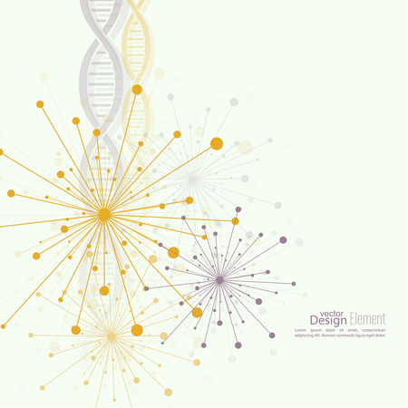 Array with dynamic emitted particles, dot. Node molecule structure. Science and connection concept. Explosion and destruction. Techno Research, brain cells, neurons. DNA strand, helix, spiral