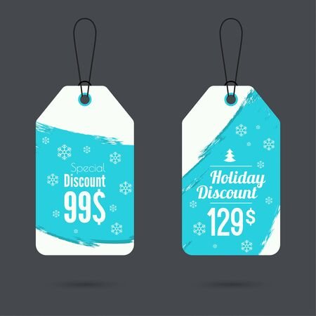 discount tag: Set price tag with ribbons and labels. special price, holiday discount and. Christmas tree, Christmas discounts Illustration