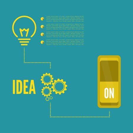 innovacion: Bombilla de la idea con el interruptor y engranajes. concepto de gran innovación de ideas inspiración, invención, pensamiento efectivo. inclusión de pensamiento Vectores
