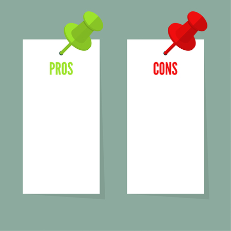 cons: Pros and Cons list. Selection of the optimal solutions, weighing the facts. Paper sheets pinned push pin. Vector design in a flat style.