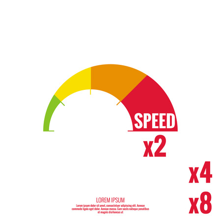 color scale: The measuring device with a color scale. Green, yellow, orange, red. Speedometer. The concept of maximum acceleration and speed. Illustration