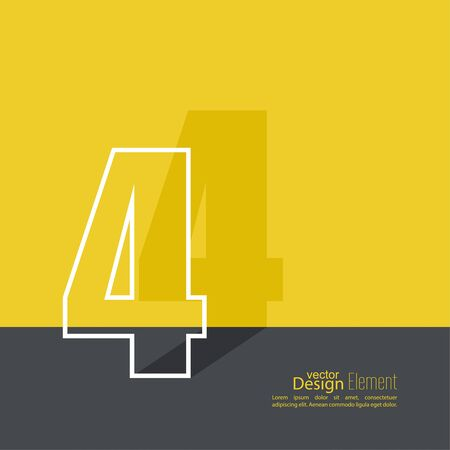 brochure cover design: The number 4. one. abstract background. Outline. Logo or corporate identity.