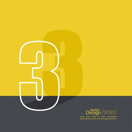 advertising logo: The number 3. one. abstract background. Outline. Logo or corporate identity. Illustration