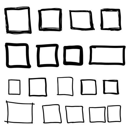objetos cuadrados: Conjunto de la mano dibujado cuadrados, punta de fieltro objetos del corral. cuadro de texto y marcos.
