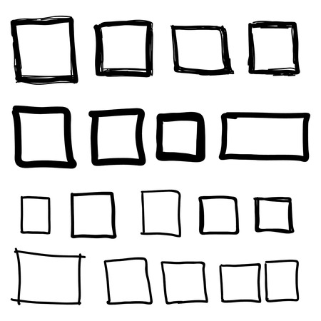 rectangle: Set hand drawn square, felt-tip pen objects. Text box and frames.