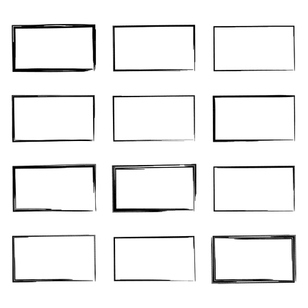 cuadrados: Rectángulo dibujado, objetos Rotulador Conjunto de mano. Cuadro de texto y marcos.