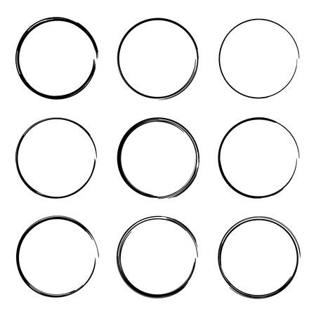 Stel handgetekende ovalen, viltstift kringen. Onderstrepen, nota, markeert belangrijke informatie. Ruwe frame-elementen.