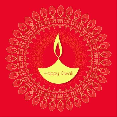 an oil lamp: Fondo abstracto con lámpara de aceite encendida con rangoli de Diwali celebración. Vectores