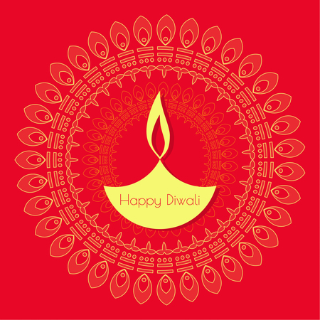 Abstract background with oil lit lamp with rangoli for Diwali celebration.