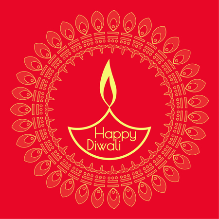 lit lamp: Abstract background with oil lit lamp with rangoli for Diwali celebration.