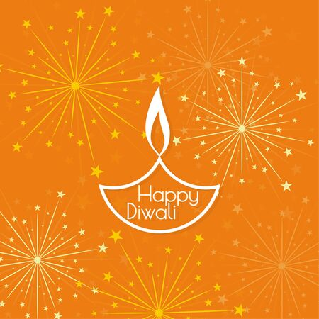 oil lamp: Abstract background with oil lit lamp with rangoli for Diwali celebration.