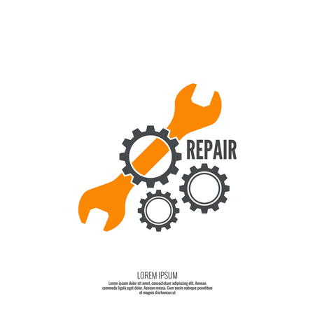 mechanic: Wrench and gear icon. Mechanic service and mechanics, connection and operation engineering design work.
