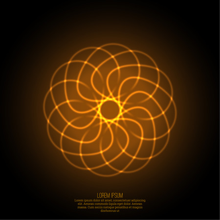 energy flow: Abstract background with luminous fractal, geometry, mesh element. Intersection curves. Glowing mandala spiral. The energy flow Illustration