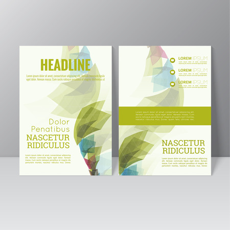 trellis: Vector brochure template design with colored crystals, trellis structure. Flyer or booklet Layout.