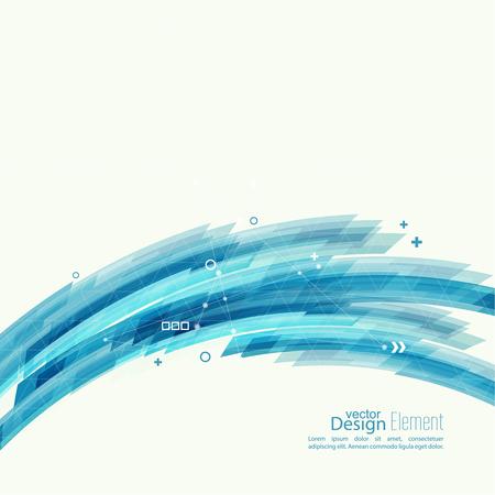 Abstracte achtergrond met blauwe strepen, plus en bochten. Concept nieuwe technologie en dynamische beweging. Digital Data Visualization. Arc met symbolen