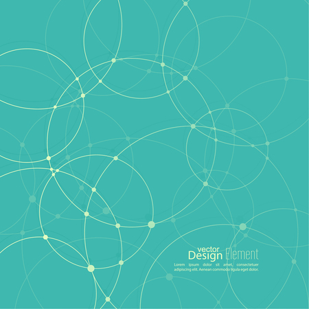 Abstract background with overlapping circles and dots. Chaotic motion.