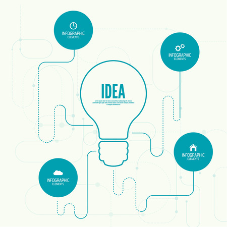 프리젠 테이션, 정보 형태의 배너와 비교 차트. 선택권. 큰 아이디어 영감 혁신, 발명, 효과적인 사고의 개념. 일러스트