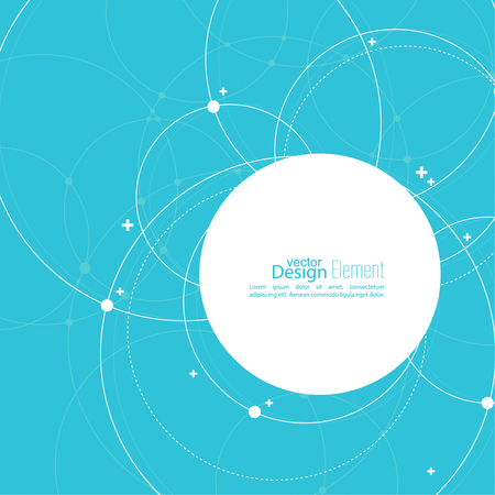 Abstract background with overlapping circles and dots. Chaotic motion. Round banner with empty space for text. Node molecule structure. Science and connection concept. Stock Illustratie
