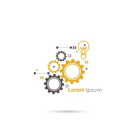 engineering design: Gears symbol. Concept of motion and mechanics, connection and operation engineering design work. vector. minimal. Bulb light idea. concept of big ideas inspiration innovation, invention