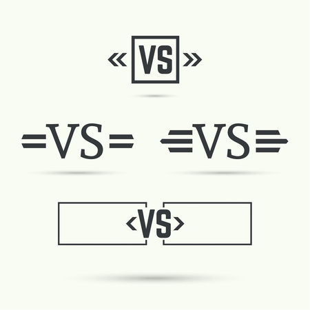 s: Versus sign. Badge with wings. Concept of opposition, battle, confrontation
