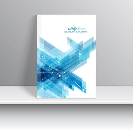annual report: Magazine Cover with blue stripes corner, triangles. For book, brochure, flyer, poster, booklet, leaflet, postcard, business card, annual report. vector. abstract background