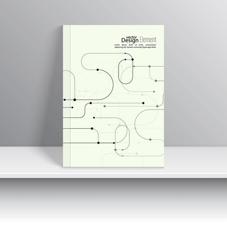 brochure cover design: Magazine Cover with curved lines, dot and particle. For book, brochure, flyer, poster, booklet, leaflet, cd cover design, postcard, business card, annual report. vector. abstract background