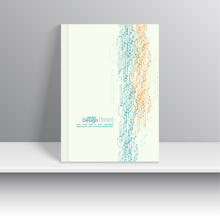 notebook cover: Magazine Cover with curved lines, dot and particle. For book, brochure, flyer, poster, booklet, leaflet, cd cover design, postcard, business card, annual report. vector. abstract background