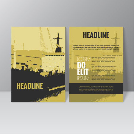 front loading: Vector brochure template design. Loading, unloading in sea port for cargo industry design. Working crane. Silhouette. Abstract background. vector. catalog