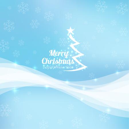 navidad elegante: resumen de antecedentes de invierno con copos de nieve cayendo suavemente de dispersión, los cristales de hielo y las chispas. elegante telón de fondo para la decoración festiva con el árbol de Navidad y el elemento tipográfico. Diseño del vector.