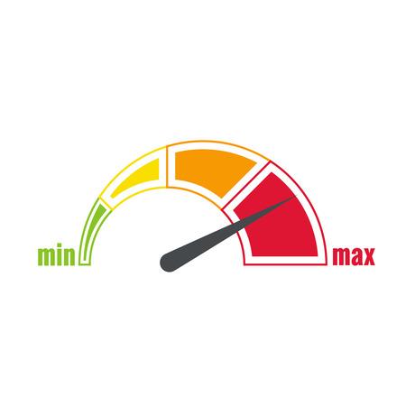 El dispositivo de medición con una escala de colores. Verde, amarillo, naranja, rojo. Velocímetro. El concepto de la máxima aceleración y velocidad. Indicador min max Ilustración de vector